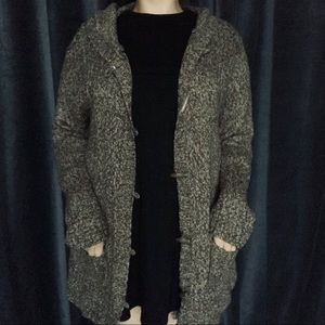 Tan chunky knit hooded button up cardigan